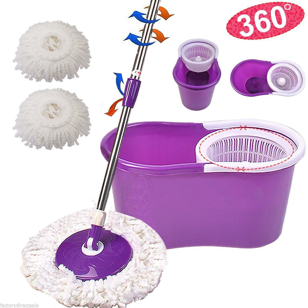 Rotating Head Easy Magic Floor Mop Bucket Microfiber Spinning Purple Ebay
