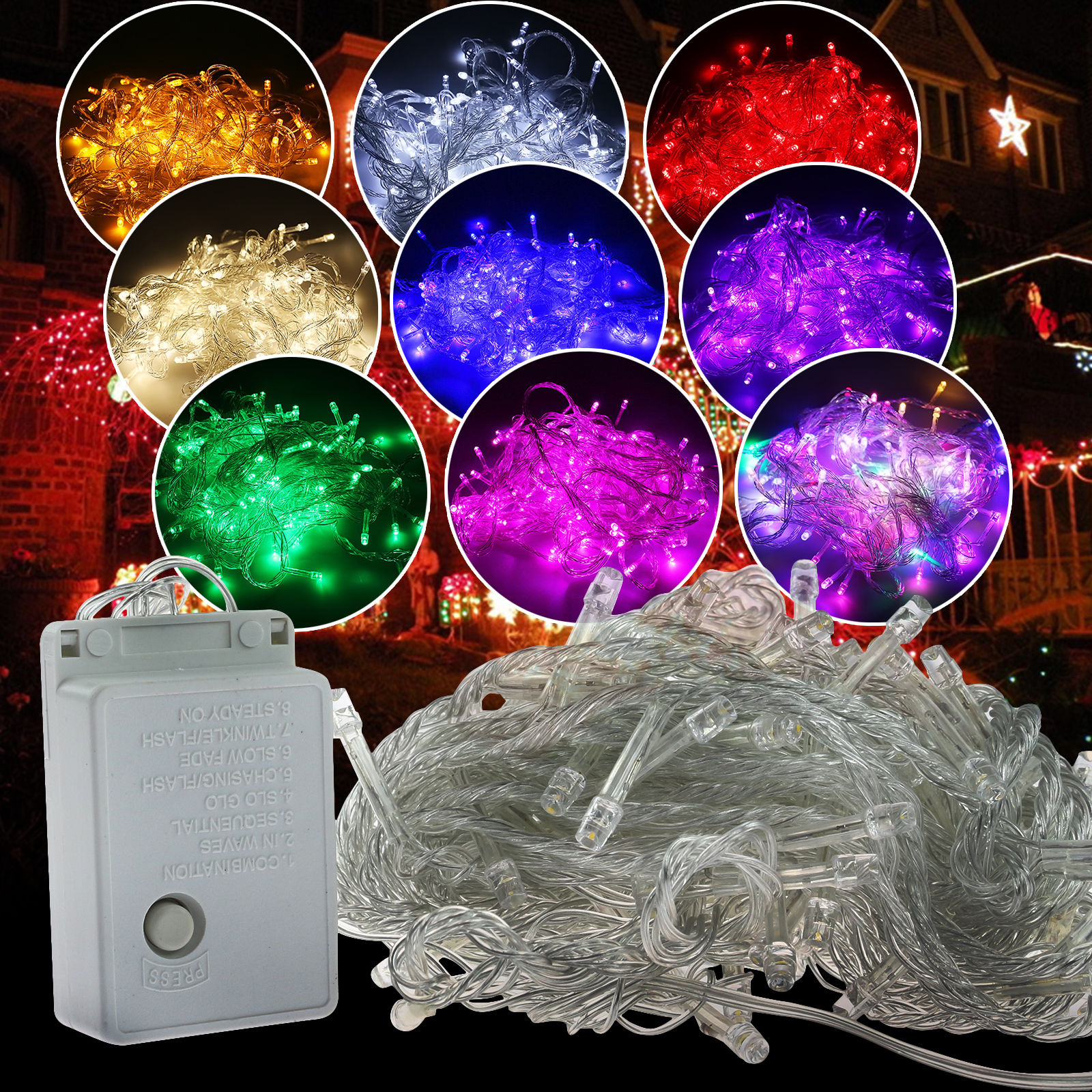 Colorful String Lights : 100 LED Christmas Tree Fairy Colorful Xmas String Party Lights Xmas Waterproof